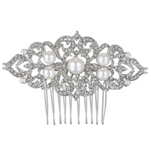 BELLA 2015 Wedding Flower Ivory Color Pearl Hair Comb Pins Austrian Crystal Head Piece For Wedding Hair Piece Bridesmaid Jewelry