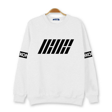 2015 autumn new arrival kpop new idol group ikon first album hoodies black white member name printed o neck pullover sweatshirt