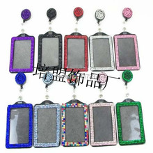 BLING COMBO VERTICAL Acrylic Rhinestone ID Card Holder &Retractable id badge reels 10pcs/lot(China)