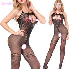 Buy Sexy Halter Bandage Open Bra Crotch Lace Bowknot Body Stocking Bodysuit Babydoll Latex Catsuit Erotic Hot Lingerie + Eeymask