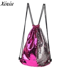 Drawstring Bag Panelled Double Color Sequins Women Men Shoulder Bag Fashion Design Backpack Bolsas Feminina #7421(China)
