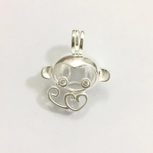 Solid 925 Silver Inlay Shiny Gems Eyes Monkey Locket Cage, Can Hold Pearl Beads Pendant Mounting, Sterling Silver Cage Pendant(China)