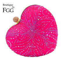 Hot Pink Fuchsia Flower Crystal Women Heart Evening Clutch Bags Hardcase Metal Clutches Wedding Party Bridal Handbag and Purse