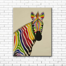 NEW modern cartoon animal color zebra canvas printings oil paintings printed on canvas kid room wall art decoration picture