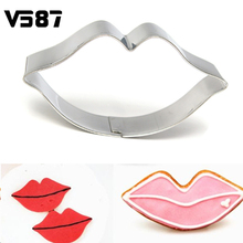 2Pcs/lot Stainless Steel Lip Sugarcraft Cookie Cutter Fondant Cake Kiss Mold Baking Gum Paste Decorating Cake Tools(China)