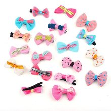 100pcs Dog Cat Puppy Hair Bows Ribbon Wholesale Hairpin Flower Pets Hair Accessories New Gift(China)