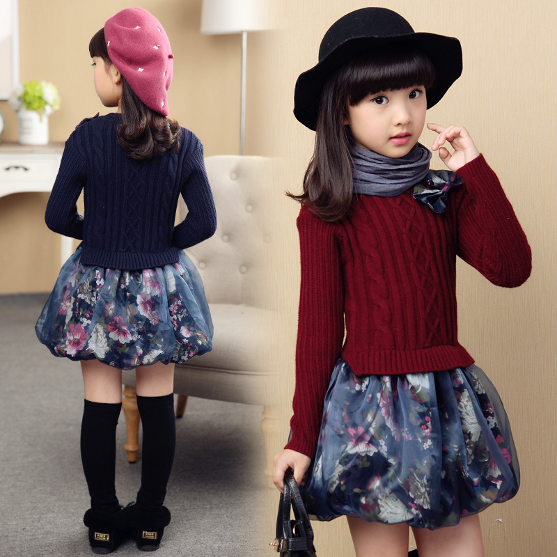 Girls  Childrens Princess  Knitted Childrens Dress<br>