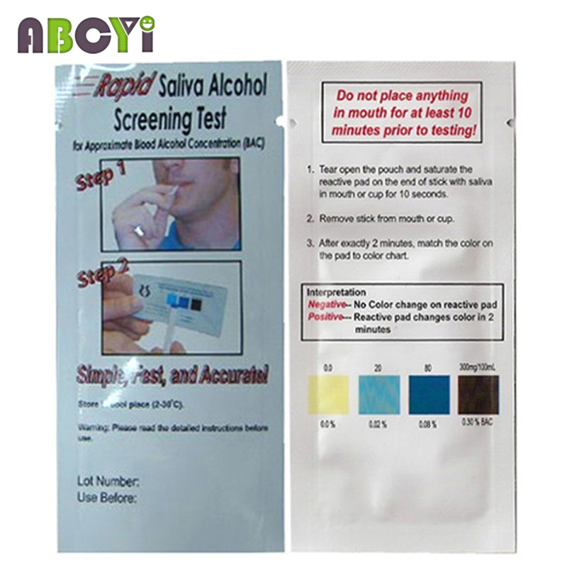 1000 pcs Disposable Alcohol Tester Wholesale Saliva Alcohol Test Kits, Rapid Alcohol Testing Strip gadget, DHL EMS Free Shipping(China (Mainland))