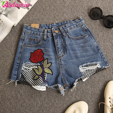 New 2017 High Waist Ripped Jeans Shorts Women's Flower Embroidery Shorts Fashion Fishnet Hollow Out Women Shorts Summer Style