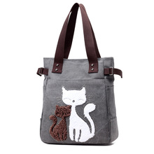 Popigist Best Selling Bags for Women 2017 Cute Cat Canvas Handbags Tote Bags Lady shoulder bags Lovely Cate Characters(China)