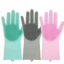 1 pairs Silicon Dish Scrubber Rubber Gloves Food Grade Cleaning Sponge Dishwashing Brushs Magic Silicone Gloves(China)