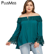 Buy PlusMiss Plus Size 5XL Sexy Lace Shoulder Blouse Shirt Women Clothing Bell Flare Sleeve Loose Ruffle Top Large Size 2018 for $11.86 in AliExpress store