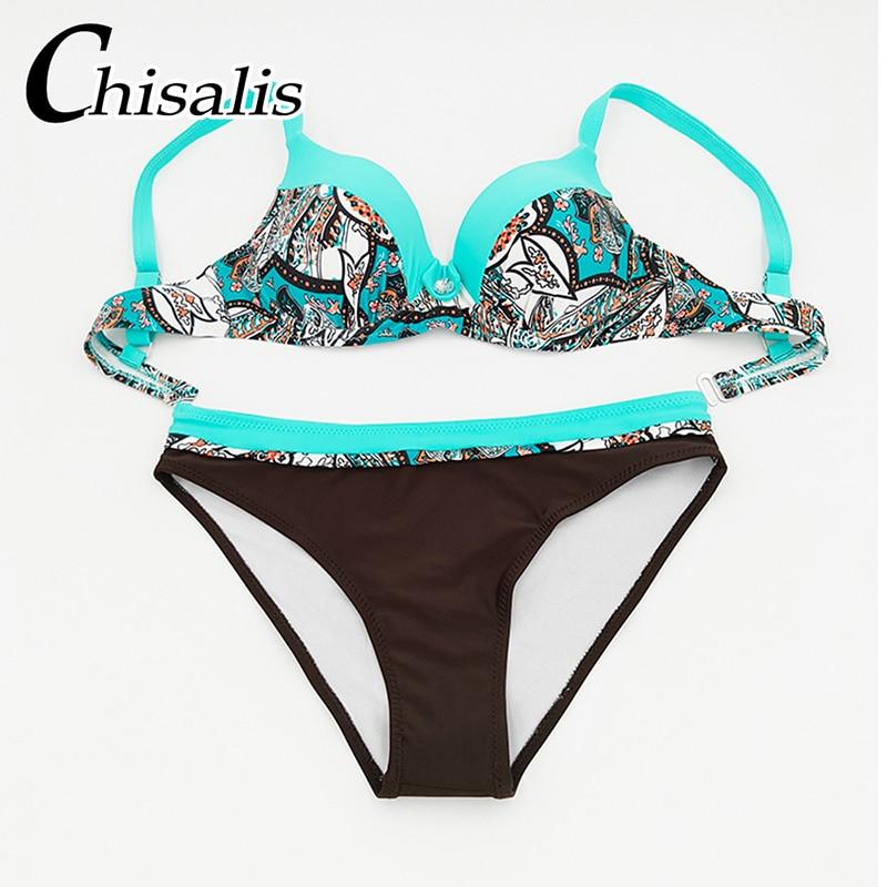 Sexy Push Up Bikini 19 Women Swimwear Print biquini femme Brazilian Bikinis Set Bathing Suit Women Beachwear Female Swimsuit 6