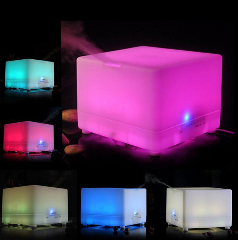 Square Design 700ml Ultrasonic Aroma Diffuser Aromatherapy Essential Oil Diffuser Ultrasonic Air Humidifier 3 Timer Settings New<br>