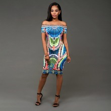 Women Summer Off The Shoulder Dress Bodycon Sexy Party Dress Ladies Slash neck Indian Traditional Print African Dresses(China)