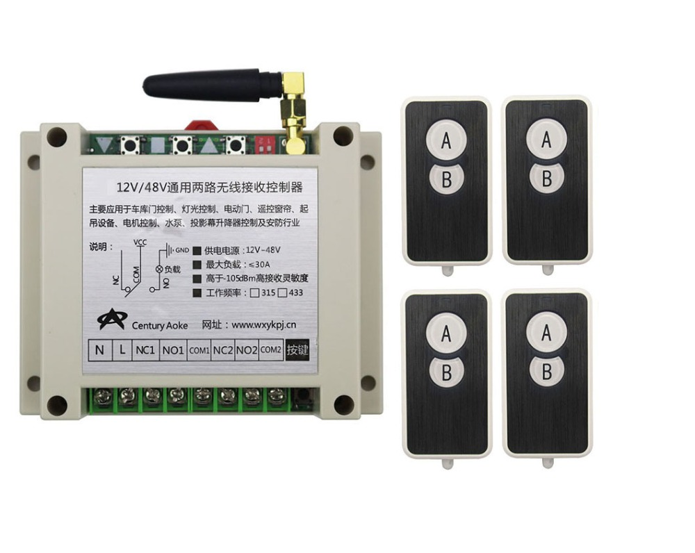 DC12V 24V 36V 48V 10A 2CH RF Wireless Remote Control Switch System 4 transmitter and 1 receiver universal gate remote control<br>