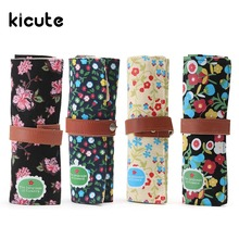 Kicute Flower Sea Large Capacity Roll Up Pencil Case Canvas Sketch Pencil Bag Pen Brush Holder Storage Bag School Supplies