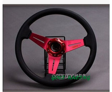 14''/350mm leather car racing sports Steering wheel with red aluminum bracket omp steering-wheel car covers car styling(China)