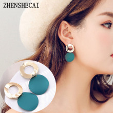Buy South Korea Dongdaemun Fashion Jewelry women Round Drop Earring Simple Blue Black White colors Long Earring Hot Sale e0471 for $1.62 in AliExpress store