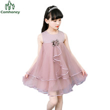 Teenagers Dress Sleeveless Girls Sun Dress Princess Fairy Summer Clothing Kids Dresses For Girls Party Baby Floral Ball Gown