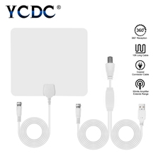 Cheap 50 Miles White Amplified Indoor HD Digital TV Antenna 25db Gain Aerial Amplified Booster for HDTV / DTV F Connector(China)