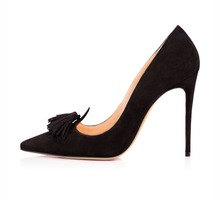 Amourplato Fringed Style Women's Ladies Handmade Fashion Walior 100MM Fringed Pointed Toe Party High Heel Pump Shoes