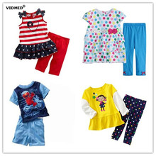 Children sets Girls short sleeve clothing sets boys Summer t-shirt + pants kids suits Clothes trousers Tops Kids Cotton pajamas
