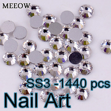 Small Size 1440pcs SS3 Crystal Nail Art Rhinestones With Top Quality For DIY Nails Art Cell Phone And Wedding Decoration(China)