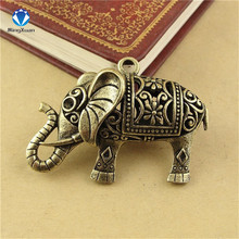 MINGXUAN 1piece 52x36x14mm Antique Bronze Hollow elephant Charm Pendant for Diy Necklace Jewelry Making Handmade Craft C925(China)