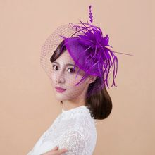 Purple England Ladies Feather Fascinator Birdcage Veil Top Hat Hairpins Women Evening Party Wedding Photo Fashion Hair Headdress