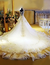 New Style! New Bandage Crystal Lace V-Neck Luxury Wedding Dress  Bridal Dress gown vestido de noiva