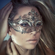 2016 New high quality  black/silver Diamond metal Venetian mask dance party supplies Horror