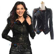 Women's punk RIVETS STUDDED Motorcycle PU Leather Spike Jacket autumn winter european style clothing outerwear brand women coats