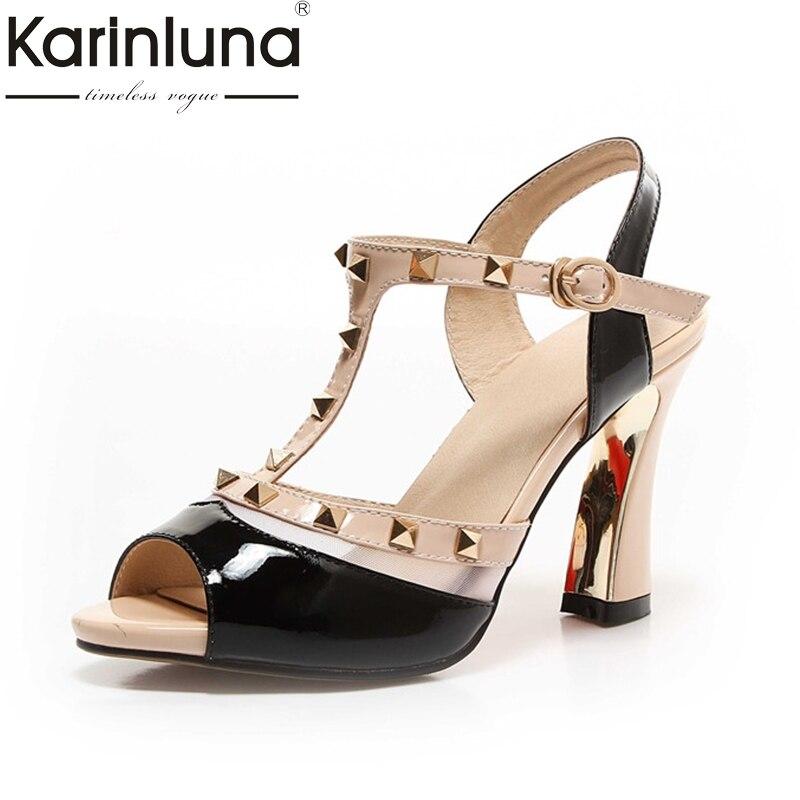 Karinluna 2018 Summer Brand Genuine Leather Rivet Sandals Peep Toe High Heels Shoes Woman Size 34-39<br>