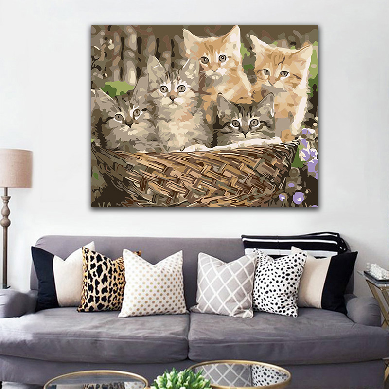 DIY-colorings-pictures-by-numbers-with-colors-Five-cats-in-the-basket-picture-drawing-painting-by