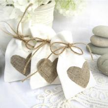 Trendy White Natural Linen Drawstring Wedding Favor Bags Pouch Heart Shape Wedding Gift Bags Jewelry Bag (Set Of 12)