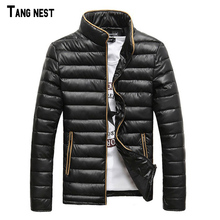 TANGNEST Men's Coat 2018 New Arrival Thick Korean Style Slim Men's Coat Casual Fashion Winter Jacket Stand Collar Parkas MWM819(China)
