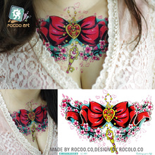 LC-401/2016 Latest Cool Women's Temporary Body Tattoo Stickers Big Bow-tie With Key Red Breast Tattoo Stickers