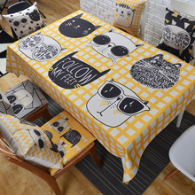 Cute cartoon cotton linen table cloth European round tablecloth rectangular restaurant