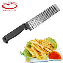 Potato French Fry Cutter Stainless Steel Kitchen Accessories Serrated Blade Easy Slicing Banana Fruits Potato Wave Knife Chopper(China)