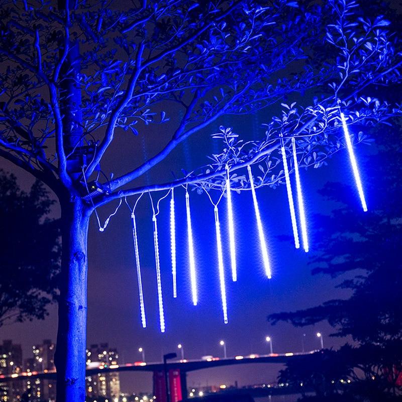 White//Blue//Colorful 20//30//50cm LED Meteor Shower Rain 8 Tube Light Tree Decor