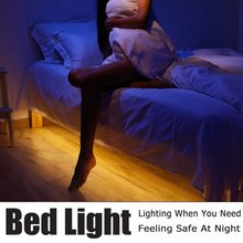 Motion Activated Bed Light Flexible LED Strip Motion Sensor Atmosphere Night Light Bedside Lamp Illumination Auto Shut Off Stair