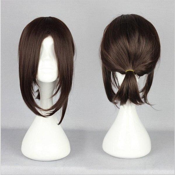 MCOSER Free Shipping Attack on Titan Hanji Zoe Style 38cm Medium Dark Brown Ponytail Synthetic Wig<br><br>Aliexpress