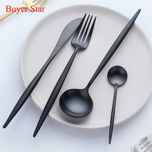 2017 Luxury Western Stainless Steel Black Cutlery Sets 1lot/16pcs Knives Forks teaspoons Dinnerware Set Service 4person color(China)