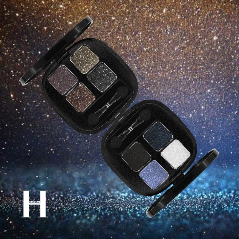 HENLICS Bright Shining Eyeshadow Palette with Eyeshadow Brush 4 Colors Per Set Glitter Eye Shadow for Eyes Makeup Cosmetics (2)