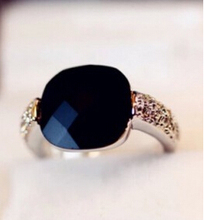 ra001 2017 Square black onyx imitation gem color crystal crystal personalized silver retro ring jewelry wholesale