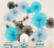 "8""20cm 6pcs Tissue Paper Fan Event & Party Supplies/ Birthday Wedding Party Decorations Baby Shower Artificial Flower Casamento(China)"