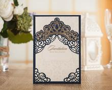50pcs Luxurious Elegant Navy Blue Wedding Invitations Card Laser Cut  Invitation Cards Birthday Party supplies
