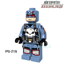 Educational Blocks Captain Punisher With Weapon Marvel Figures Super Heroes Star Wars Action Bricks Kids DIY Toys Hobbies PG216