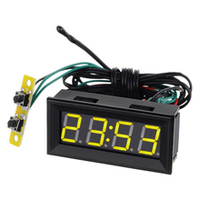 0.56 Yellow LED Clock Voltage Temperature Digital Display Thermometer Voltmeter Electrical Test Meters Digital Car Volt Gauge(China)